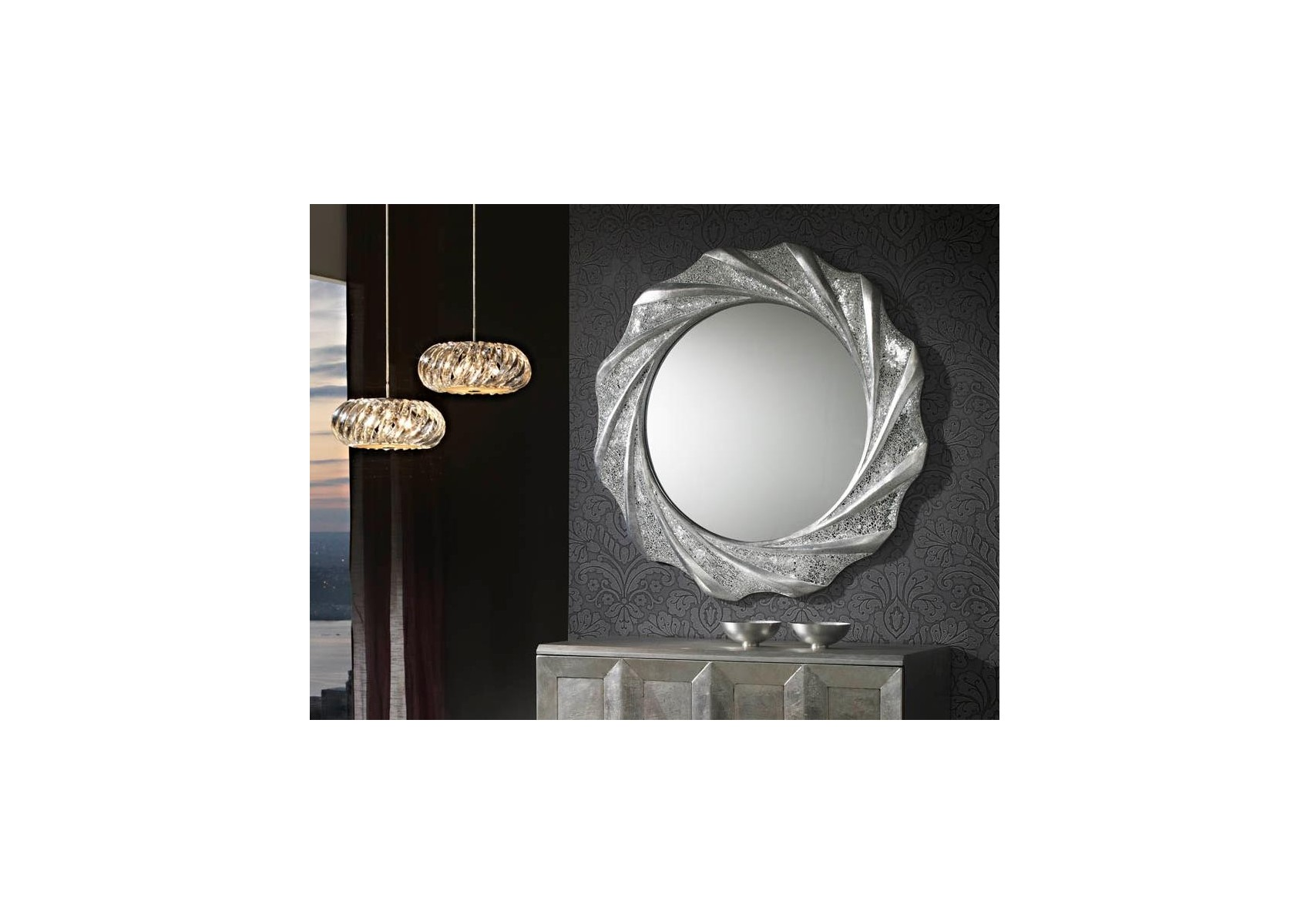 Miroir rond collection gaudi design deco schuller for Miroir rond design