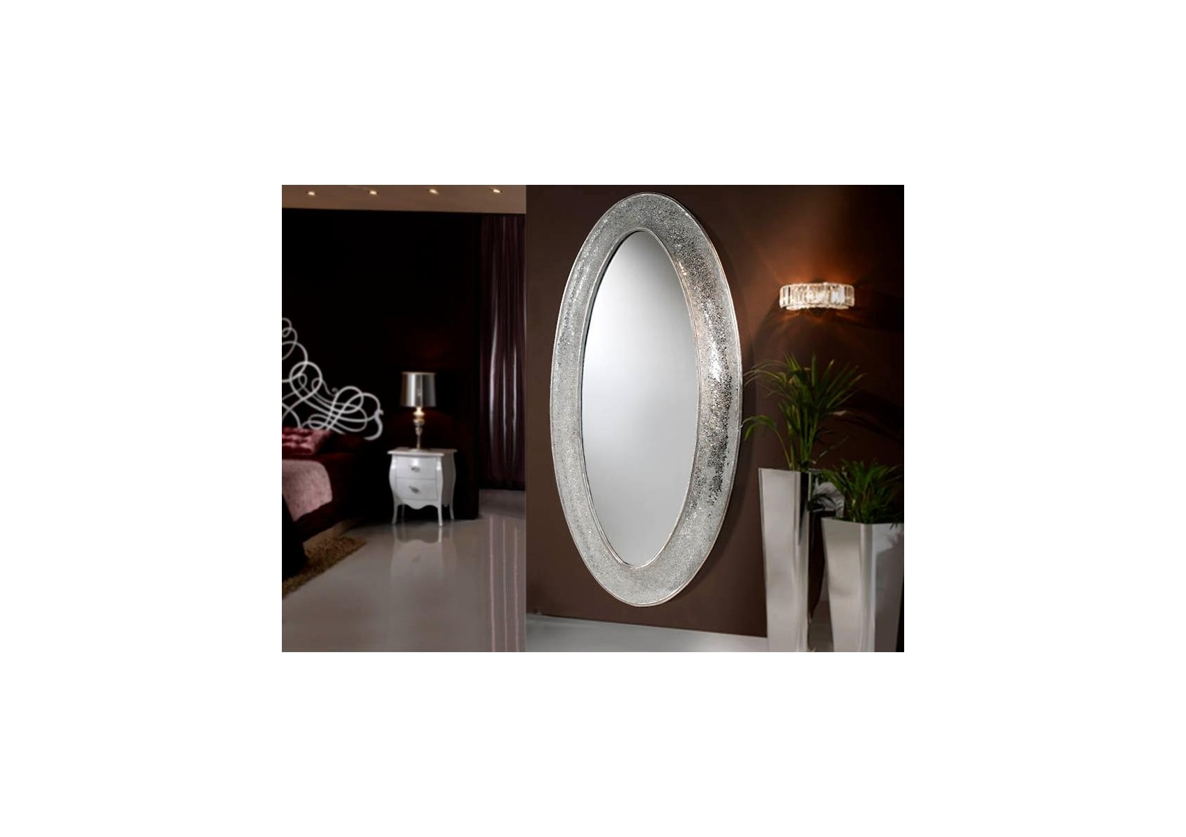 Miroir oval boudoir collection gaudi design deco for Boutique miroir